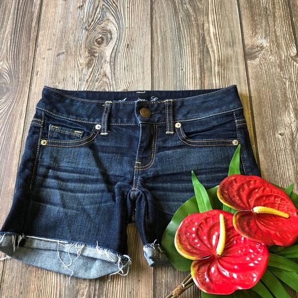 American Eagle Stretch Dark Wash Blue Jean Shorts